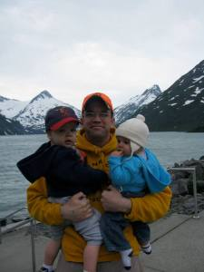 Zach, Anna, and I in front of Portage Glacier.