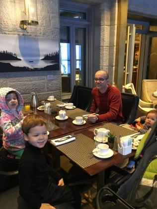 The family enjoying breakfast.